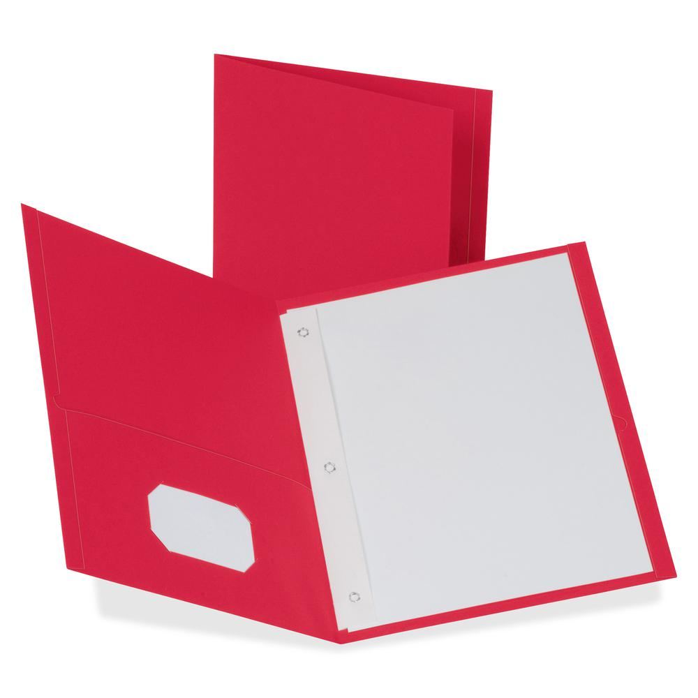 """Oxford Letter Recycled Pocket Folder - 8 1/2"""" x 11"""" - 85 Sheet Capacity - 3 Fastener(s) - 1/2"""" Fastener Capacity for Folder - 2 Inside Front & Back Pocket(s) - Leatherette Paper - Red - 10% Recycled. Picture 3"""