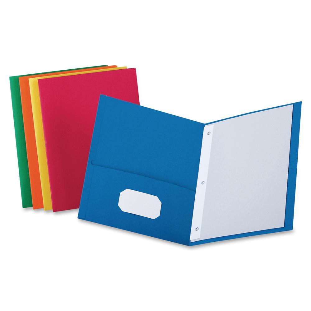 "Oxford Letter Recycled Pocket Folder - 8 1/2"" x 11"" - 3 Fastener(s) - 1/2"" Fastener Capacity for Folder - 2 Inside Front & Back Pocket(s) - Leatherette Paper - Blue, Green, Yellow, Orange, Red - 10% -. Picture 3"