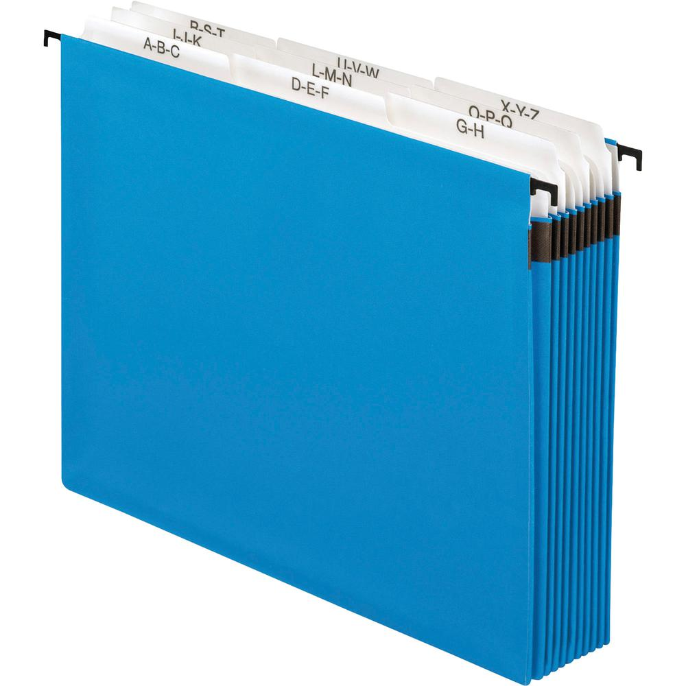 """Pendaflex 9-divider A-Z SureHook Hanging File - Letter - 8 1/2"""" x 11"""" Sheet Size - 11 pt. Folder Thickness - Paper Stock - Blue - 12.80 oz - Recycled - 1 Each. Picture 3"""