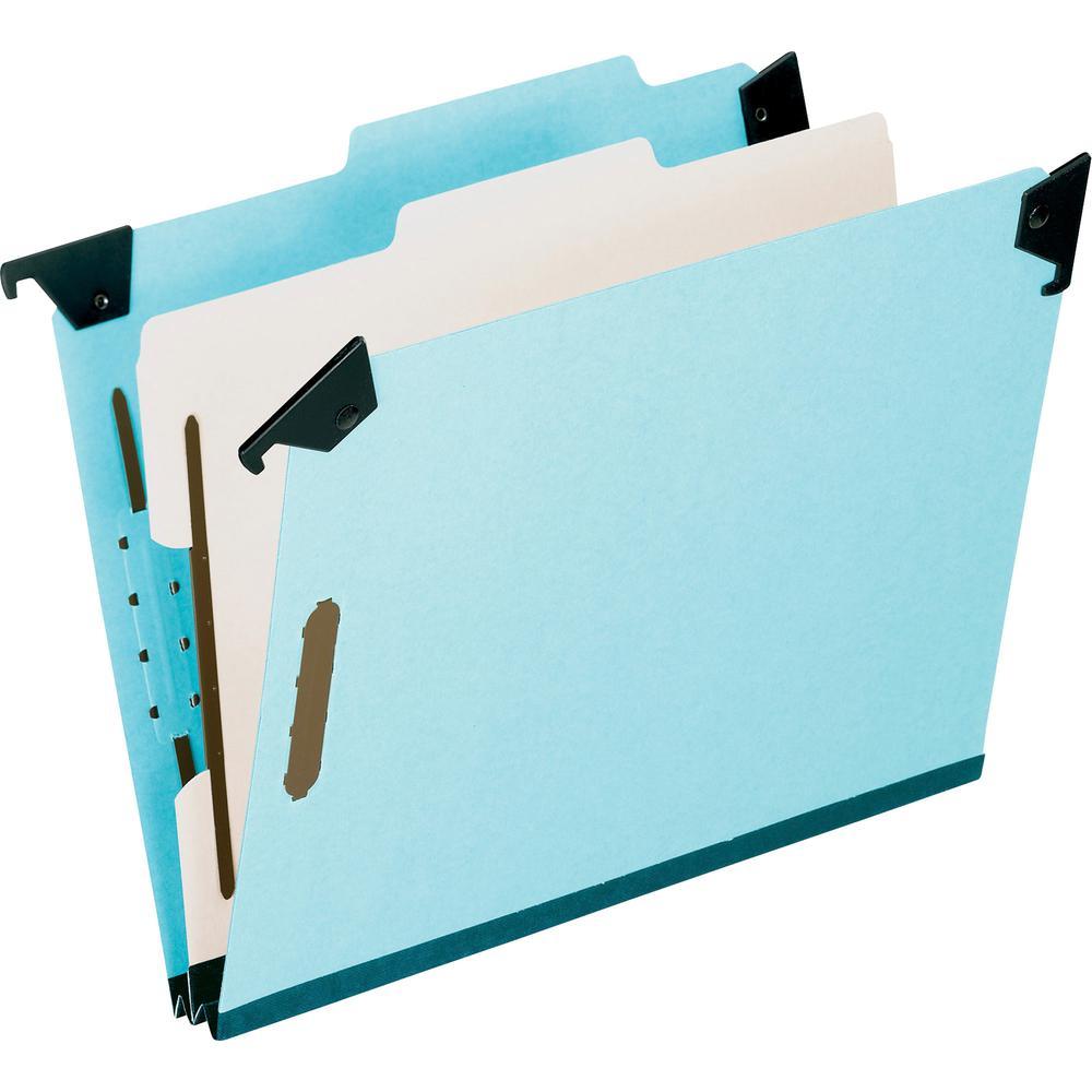 """Pendaflex Blue Pressboard Hanging Classification Folder - Letter - 8 1/2"""" x 11"""" Sheet Size - 2"""" Expansion - 2 3/4"""" Fastener Capacity for Folder - 1 Divider(s) - 25 pt. Folder Thickness - Pressboard - . Picture 3"""