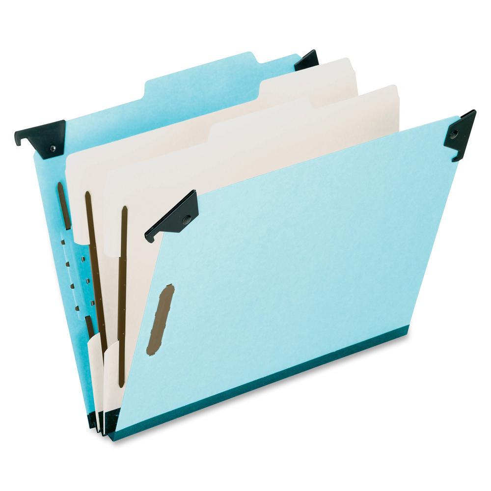 "Pendaflex Letter Recycled Classification Folder - 8 1/2"" x 11"" - 2"" Expansion - 2 3/4"" Fastener Capacity for Folder - 2 Divider(s) - Pressboard - Blue - 65% - 1 Each. Picture 3"