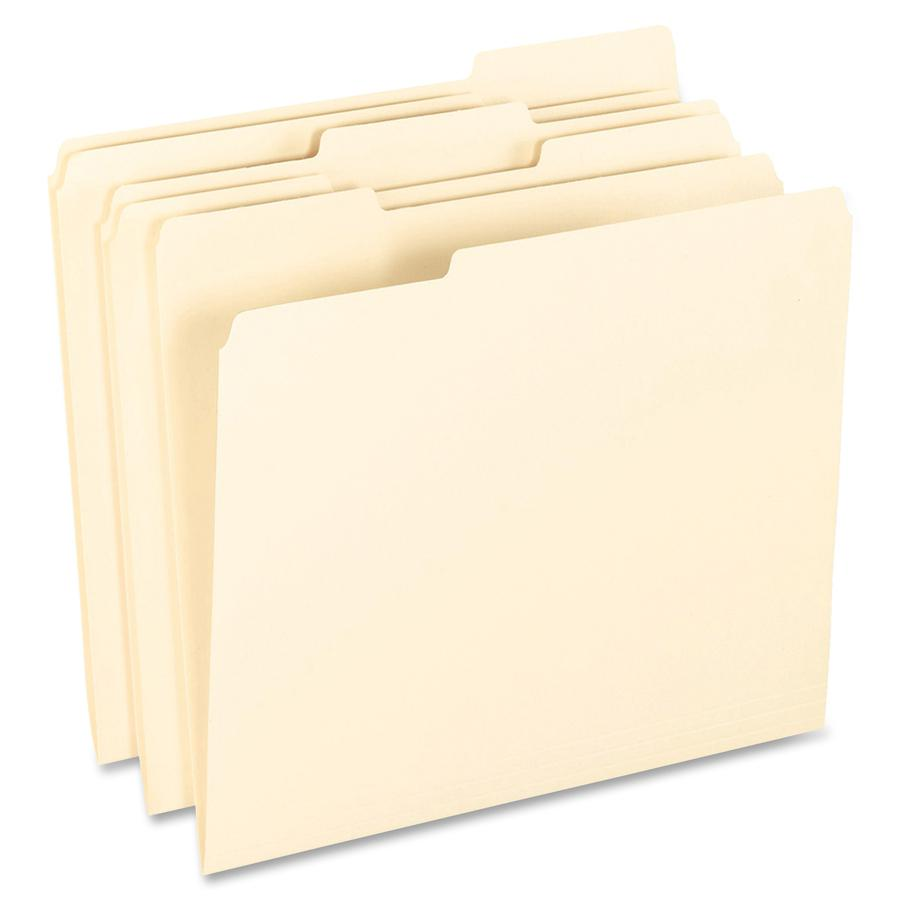 "Pendaflex 1/3 Tab Cut Letter Recycled Top Tab File Folder - 8 1/2"" x 11"" - Top Tab Location - Assorted Position Tab Position - Manila - Manila - 10% - 100 / Box. Picture 2"