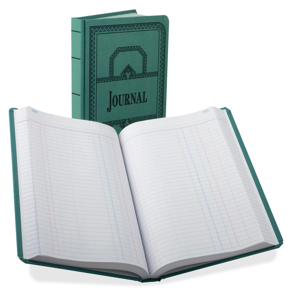 """Boorum & Pease Boorum 66 Series Blue Canvas Journal Books - 500 Sheet(s) - Thread Sewn - 7 5/8"""" x 12 1/8"""" Sheet Size - Blue - White Sheet(s) - Blue, Red Print Color - Blue Cover - 1 Each. Picture 3"""
