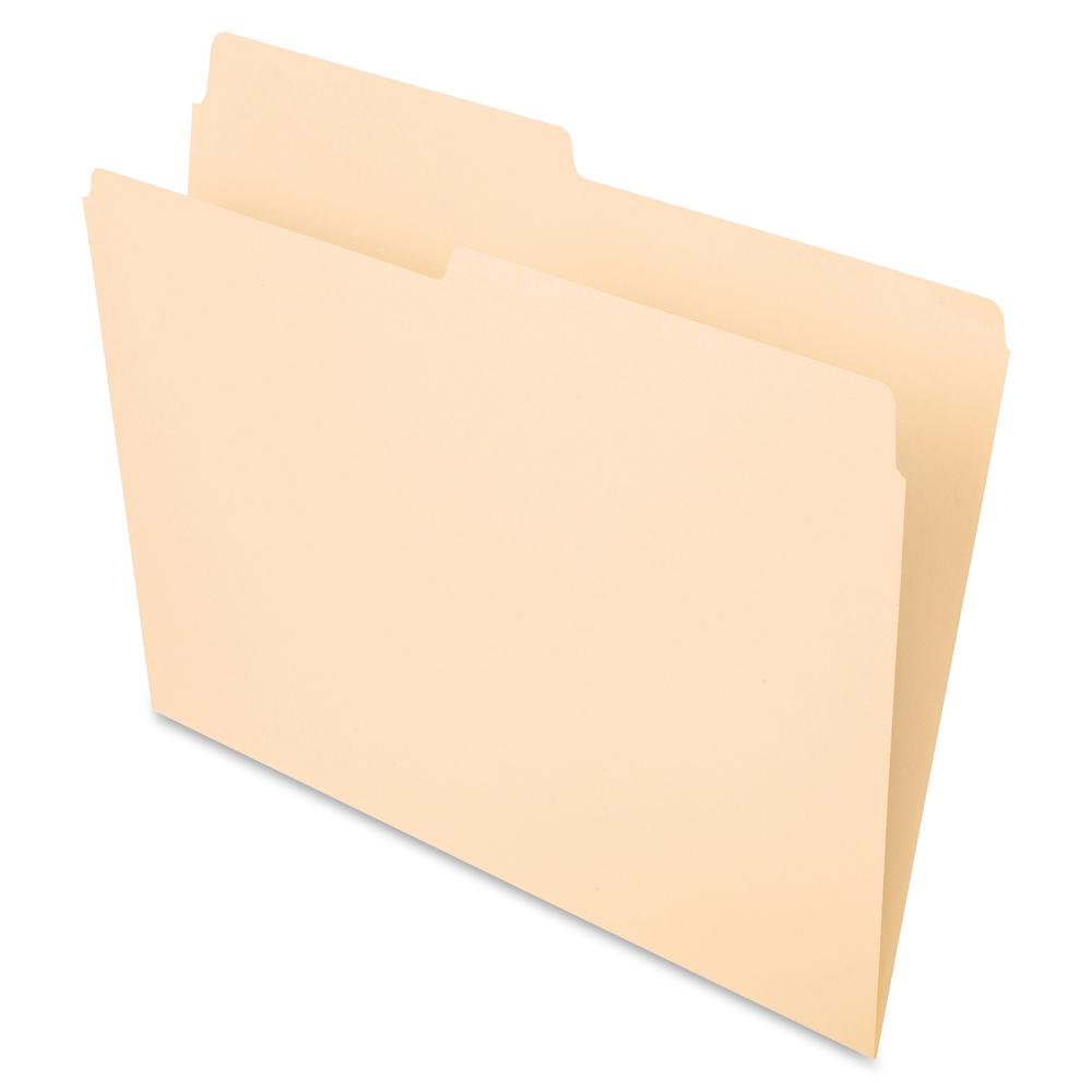 "Pendaflex Essentials 1/2 Tab Cut Letter Recycled Top Tab File Folder - 8 1/2"" x 11"" - 3/4"" Expansion - Top Tab Location - Assorted Position Tab Position - Manila - Manila - 10% - 100 / Box. Picture 2"