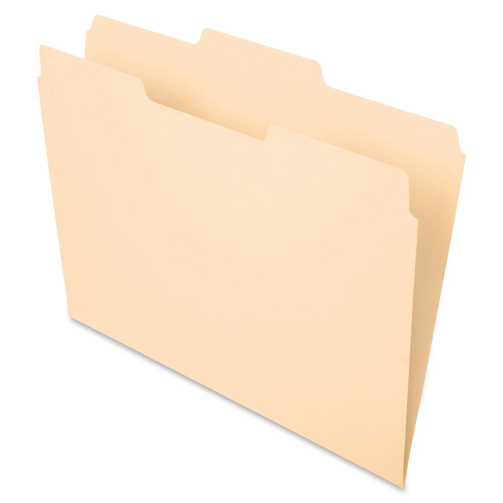 """Pendaflex Essentials 1/3 Tab Cut Letter Recycled Top Tab File Folder - 8 1/2"""" x 11"""" - 3/4"""" Expansion - Top Tab Location - Center Tab Position - Manila - Manila - 10% - 100 / Box. Picture 2"""