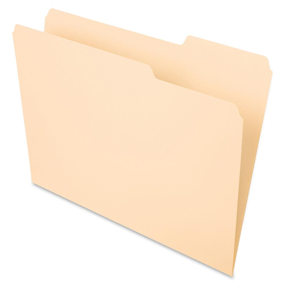"""Pendaflex Essentials 1/3 Tab Cut Letter Recycled Top Tab File Folder - 8 1/2"""" x 11"""" - 3/4"""" Expansion - Top Tab Location - Right Tab Position - Manila - Manila - 10% - 100 / Box. Picture 2"""