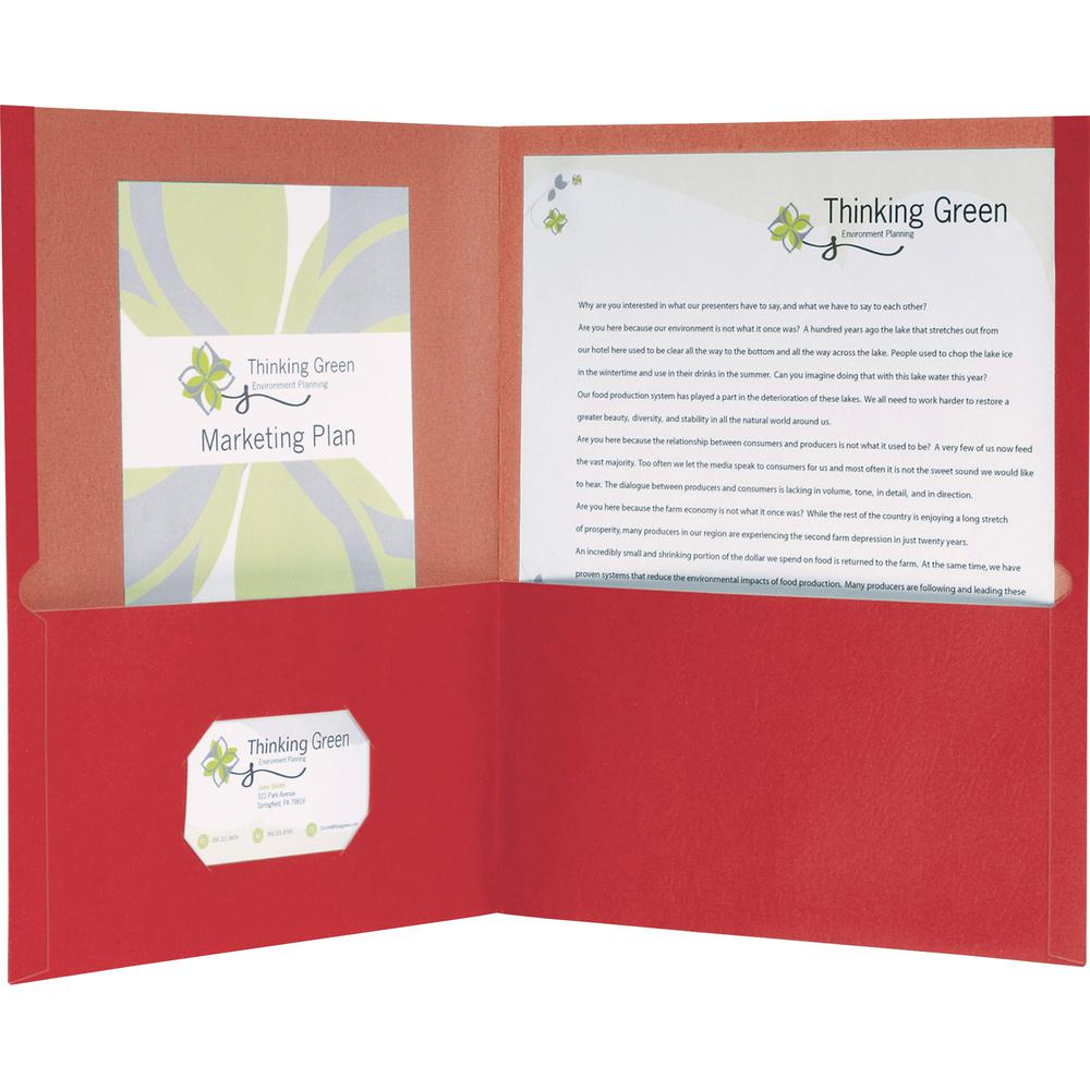 """Oxford Oxford Letter Recycled Pocket Folder - 8 1/2"""" x 11"""" - 100 Sheet Capacity - 2 Pocket(s) - Red - 100% - 25 / Box. Picture 3"""