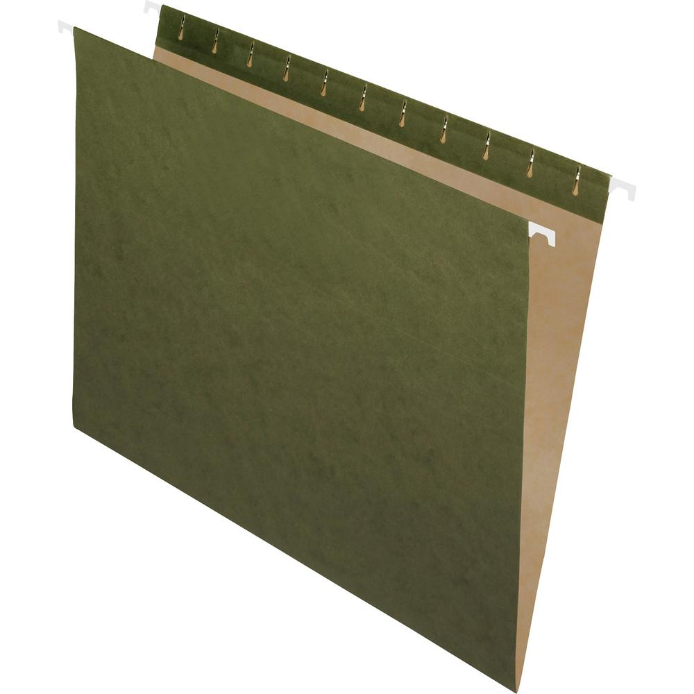 "Pendaflex Essentials Letter Recycled Hanging Folder - 8 1/2"" x 11"" - Standard Green - 100% - 25 / Box. Picture 2"