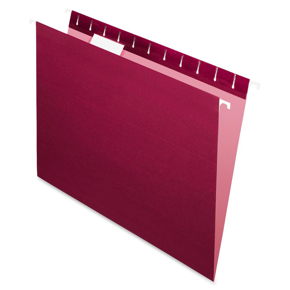 "Pendaflex Essentials 1/5 Tab Cut Letter Recycled Hanging Folder - 8 1/2"" x 11"" - Burgundy - 100% - 25 / Box. Picture 2"