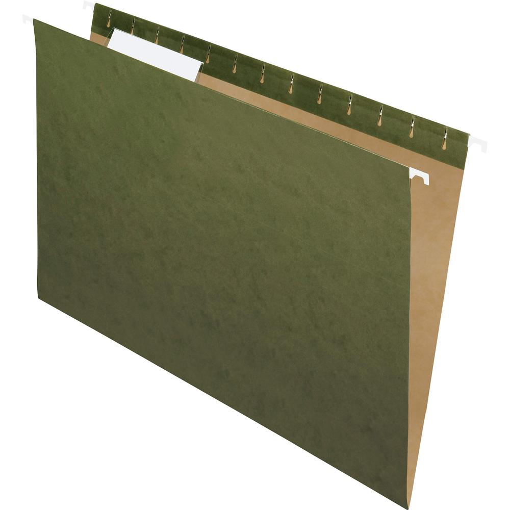"Pendaflex Recycled Legal Size 1/3-cut Hanging Folders - Legal - 8 1/2"" x 14"" Sheet Size - 1/3 Tab Cut - Standard Green - Recycled - 25 / Box. Picture 2"
