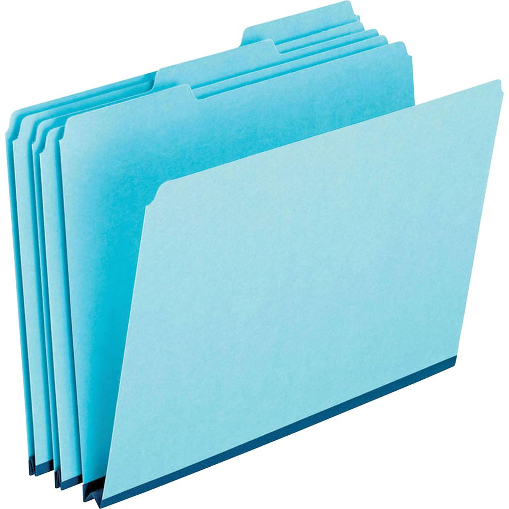 """Pendaflex 1/3 Tab Cut Letter Recycled Top Tab File Folder - 8 1/2"""" x 11"""" - 1"""" Expansion - Ring Fastener - Top Tab Location - Assorted Position Tab Position - Pressboard - Blue - 60% - 25 / Box. Picture 2"""