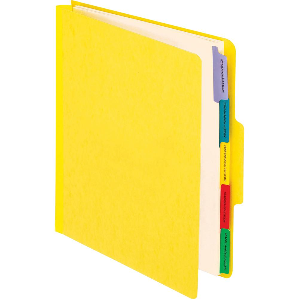 "Pendaflex Employee/Personnel Folders - Letter - 8 1/2"" x 11"" Sheet Size - 2"" Expansion - 1/3 Tab Cut - Center Tab Position - 5 Divider(s) - 20 pt. Folder Thickness - Yellow - 8.16 oz - Recycled - 1 Ea. Picture 2"