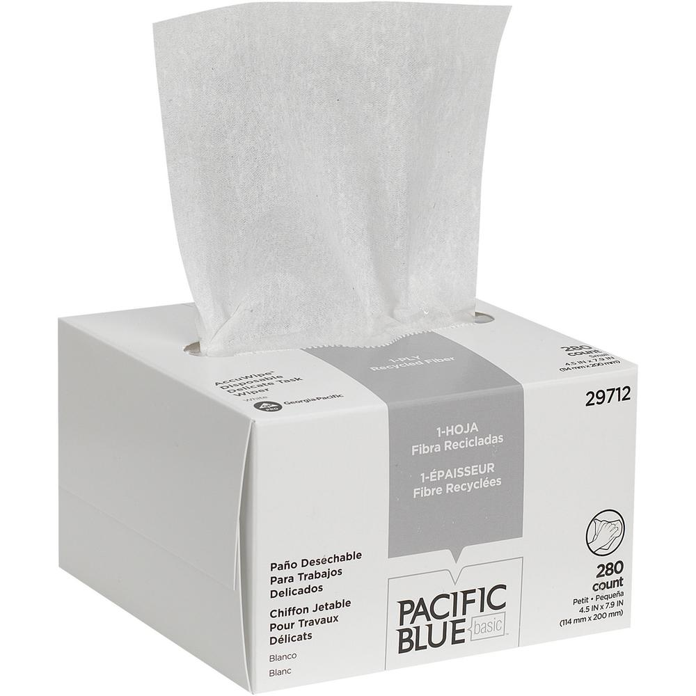 Pacific Blue Basic Recycled 1-Ply Small Disposable Delicate Task Wipers by GP Pro - For Precision Part, Instrument, Lens - Absorbent, Soft, Non-abrasive, Disposable, Streak-free - Fiber - 280 / Box - . Picture 4