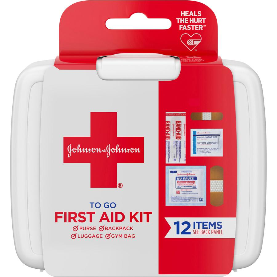 """Johnson & Johnson First Aid To Go Portable Mini Travel Kit - 12 x Piece(s) - 4"""" Height x 4.5"""" Width x 1.3"""" Depth Length - 1 Each - White. Picture 2"""