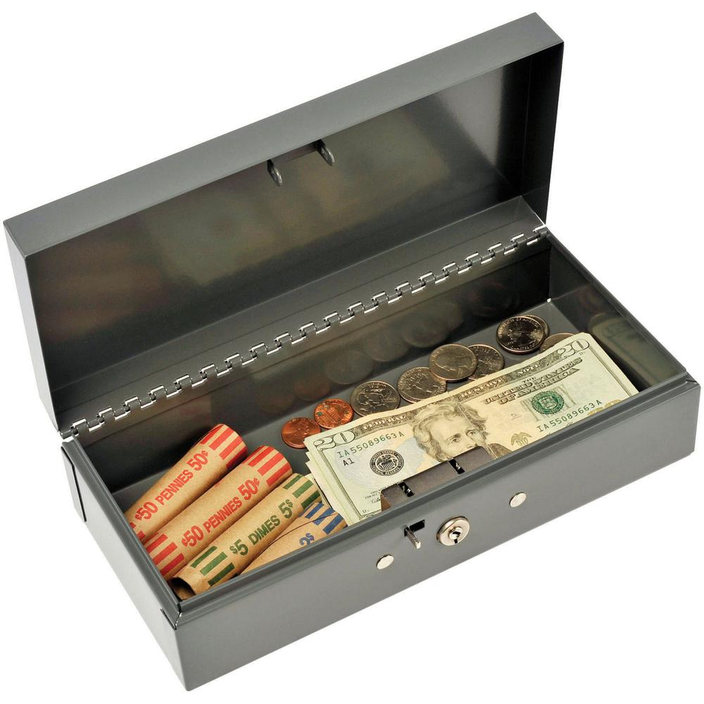 """MMF Cash Bond Box with out Tray - 5 Bill - Steel - Charcoal Gray - 2.9"""" Height x 10.3"""" Width x 4.4"""" Depth. Picture 2"""