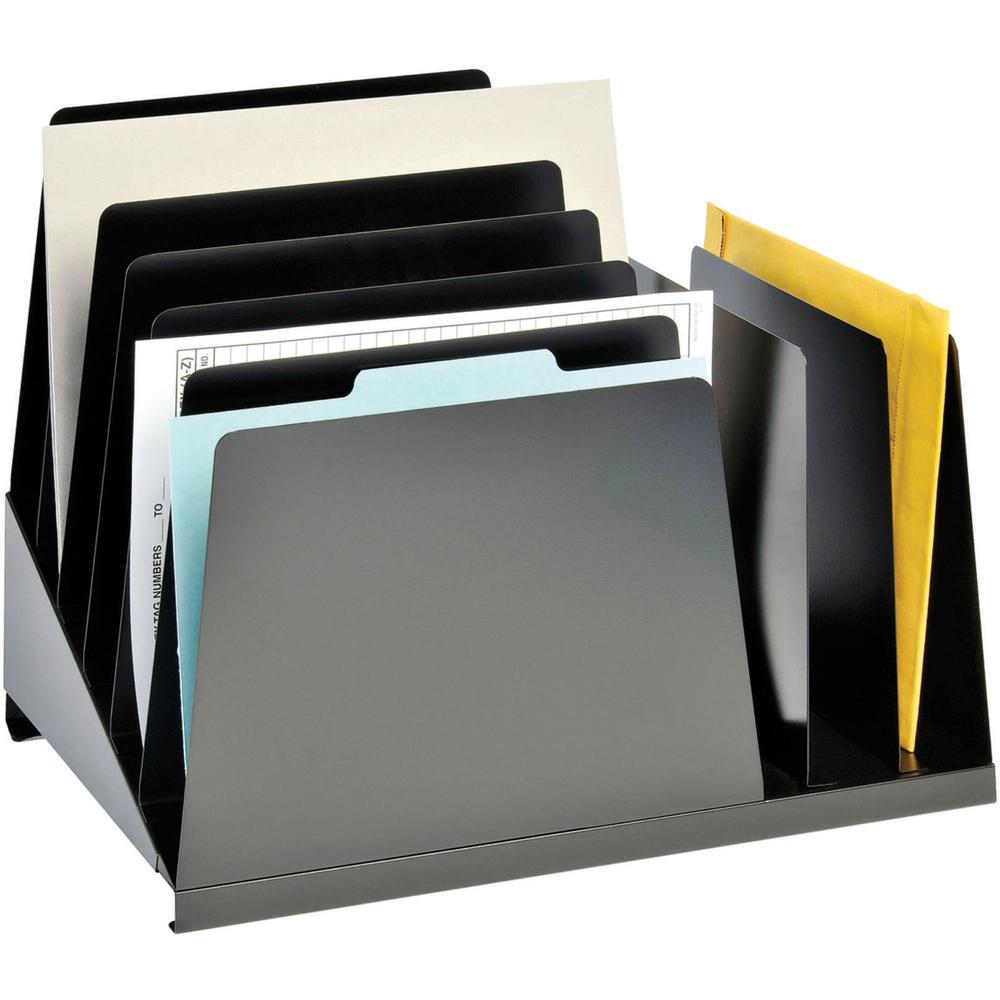 "MMF Combination Vertical Slant File - 8 Compartment(s) - 12.8"" Height x 15.3"" Width x 11"" Depth - Desktop - Chip Resistant, Non-skid Base, Scratch Resistant - 20% - Black - Steel - 1 Each. Picture 4"