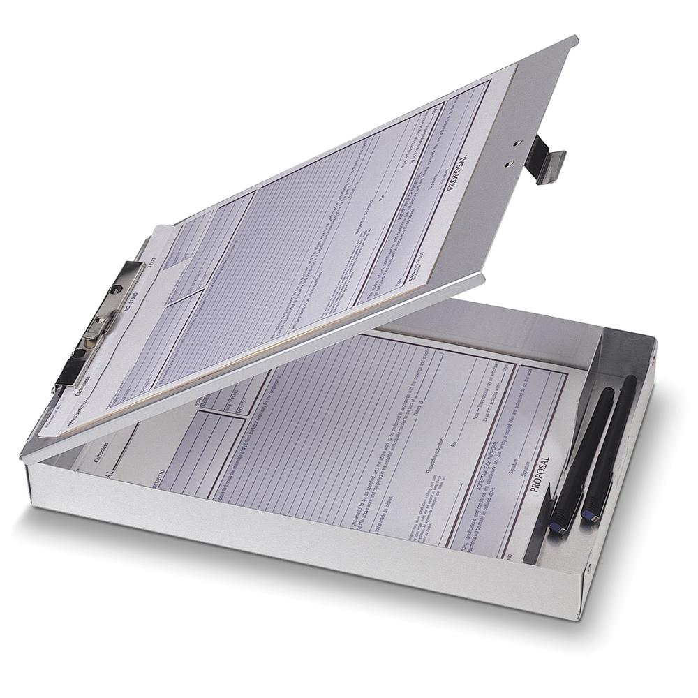 """OIC Aluminum Storage Form Holder - 1"""" Clip Capacity - Stationary - 8 1/2"""" x 12"""" - Aluminum - 1 Each. Picture 2"""