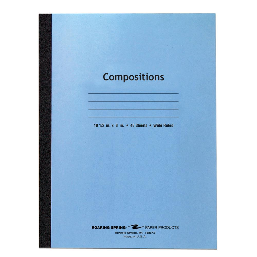 """Roaring Spring Wide Ruled Flexible Cover Composition Book, 10.5"""" x 8"""" 48 Sheets, Blue - 48 Sheets - 96 Pages - Printed - Sewn/Tapebound - Both Side Ruling Surface Red Margin - 15 lb Basis Weight - 56 . Picture 2"""