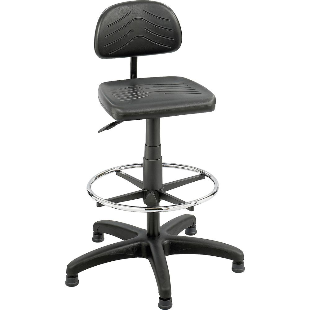 "Safco TaskMaster Economy Workbench Chair - Black Polyurethane Seat - 5-star Base - Black - 16.25"" Seat Width x 16.25"" Seat Depth - 44"" Height - 1 Each. Picture 2"
