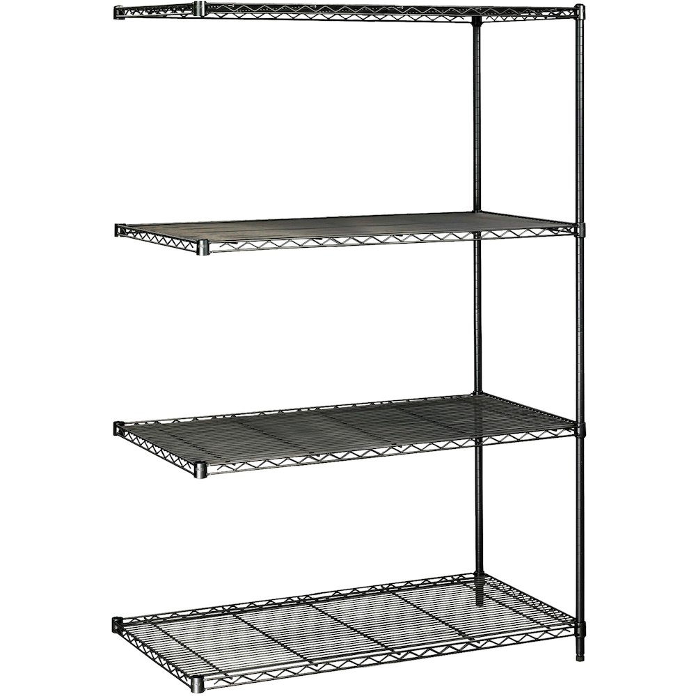 """Safco Industrial Wire Shelving Add-On Unit - 48"""" x 24"""" x 72"""" - 4 x Shelf(ves) - 3200 lb Load Capacity - Adjustable Glide, Durable - Black - Powder Coated - Steel - Assembly Required. Picture 3"""