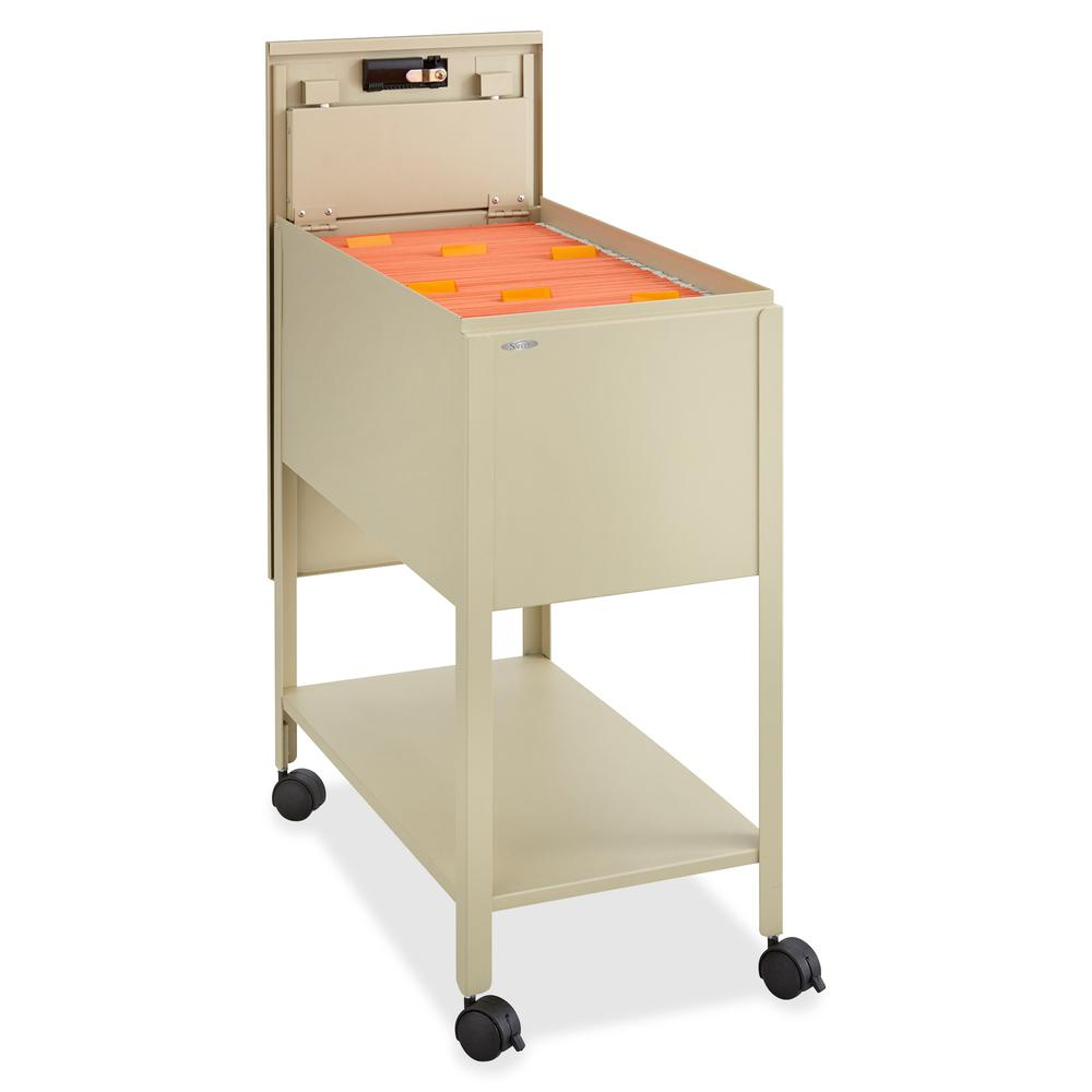 """Safco Extra Deep Mobile Tub File - 300 lb Capacity - 4 Casters - 2"""" Caster Size - Steel - x 13.5"""" Width x 24.8"""" Depth x 28.3"""" Height - Putty - 1 Each. Picture 4"""
