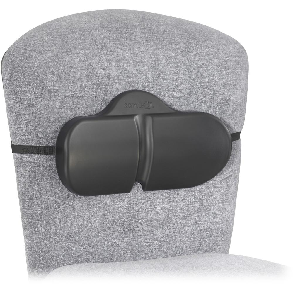 "Safco Softspot Backrests Lumbar Roll - Non-abrasive, Anti-static, Washable, Elastic Strap - Strap Mount - 14"" x 2.5"" x 8"" - Black. Picture 2"
