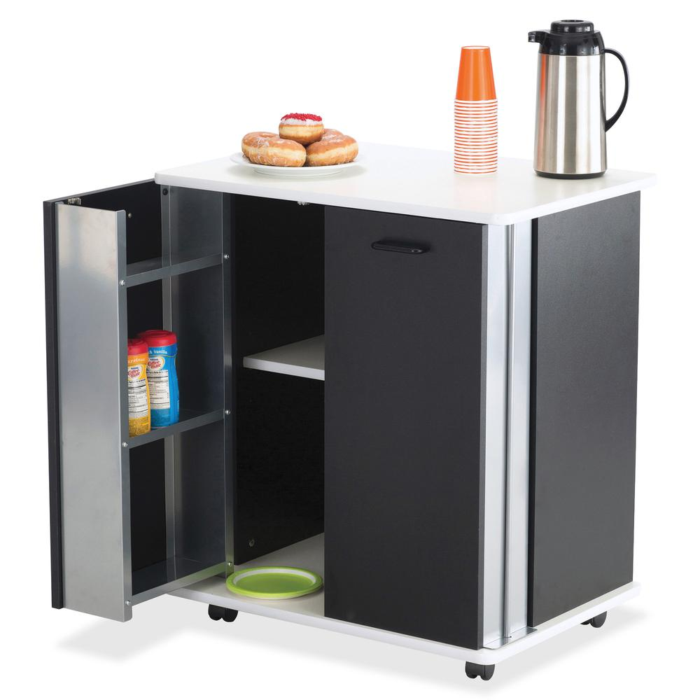 """Safco Mobile Refreshment Stand - 3 Shelf - Melamine, Laminate - x 29.5"""" Width x 22.8"""" Depth x 33.1"""" Height - Black - 1 Each. Picture 2"""