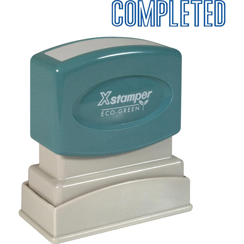 """Xstamper COMPLETED Title Stamp - Message Stamp - """"COMPLETED"""" - 0.50"""" Impression Width x 1.63"""" Impression Length - 100000 Impression(s) - Blue - Recycled - 1 Each. Picture 2"""