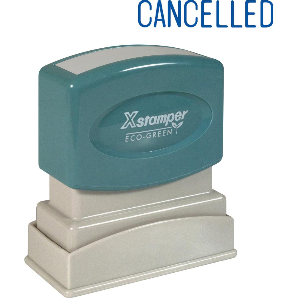 """Xstamper CANCELLED Title Stamp - Message Stamp - """"CANCELLED"""" - 0.50"""" Impression Width x 1.63"""" Impression Length - 100000 Impression(s) - Blue - Recycled - 1 Each. Picture 2"""