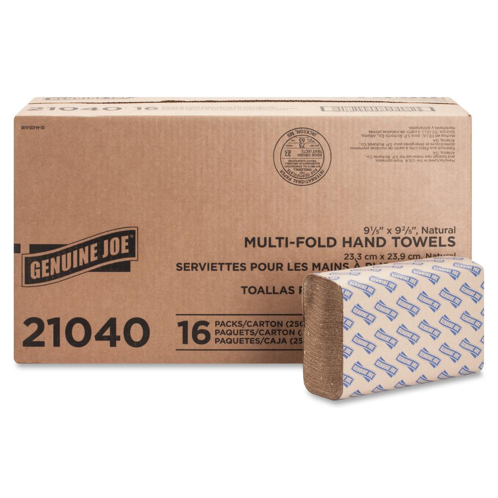 """Genuine Joe Multifold Natural Towels - 1 Ply - 9.25"""" x 9.40"""" - Natural - Chlorine-free - For Restroom, Public Facilities - 250 Per Pack - 4000 / Carton. Picture 3"""