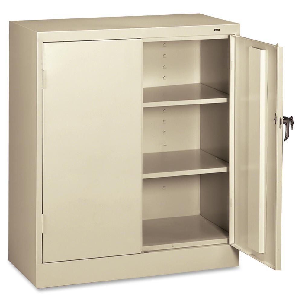 "Tennsco Counter-High Storage Cabinet - 36"" x 18"" x 42"" - 2 x Door(s) - Security Lock - Putty - Recycled"