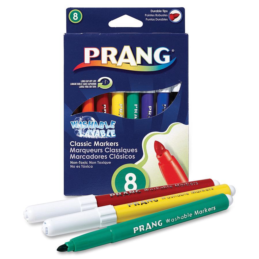 Prang Bullet Tip Washable Master Pack Art Markers - Broad Marker Point - Bullet Marker Point Style - Assorted - White Barrel - 8 / Set. Picture 3