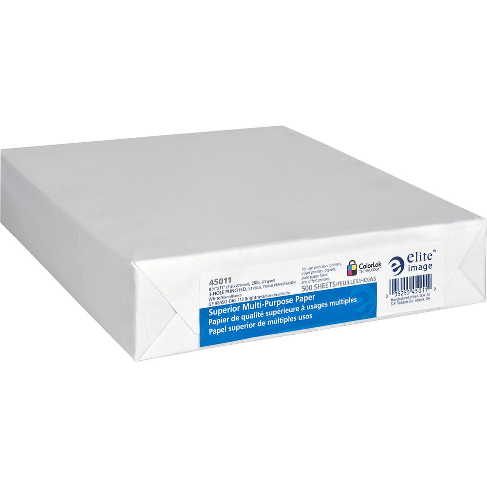 """Elite Image Punched Copy Paper - Letter - 8 1/2"""" x 11"""" - 20 lb Basis Weight - 5000 / Carton - White. Picture 3"""