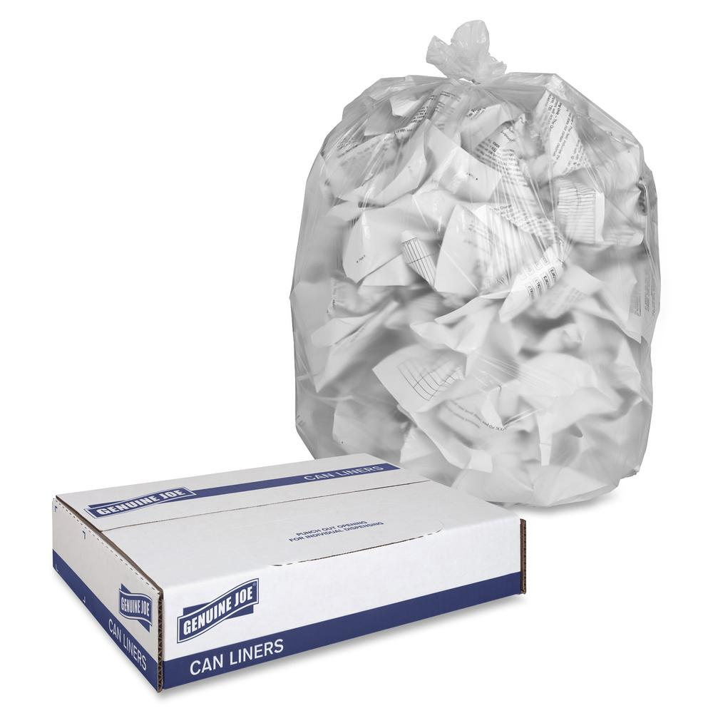"""Genuine Joe High-density Can Liners - Large Size - 45 gal - 40"""" Width x 48"""" Length x 0.63 mil (16 Micron) Thickness - High Density - Clear - Resin - 250/Carton - Office Waste, Industrial Trash. Picture 3"""