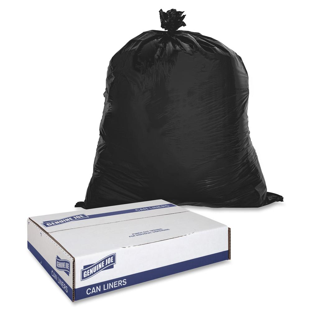 """Genuine Joe 2-Ply Can Liners - Medium Size - 30 gal - 30"""" Width x 36"""" Length x 0.60 mil (15 Micron) Thickness - Low Density - Brown, Black - 250/Carton - Multipurpose. Picture 4"""