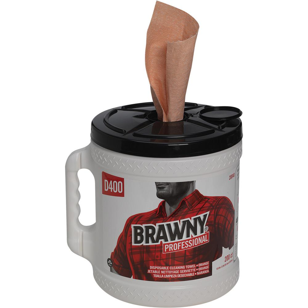 """Brawny® Professional D400 Disposable Cleaning Towels in Bucket - 9.90"""" x 13"""" - 200 Sheets/Roll - Orange - Absorbent, Soft - 200 - 2 / Carton. Picture 4"""
