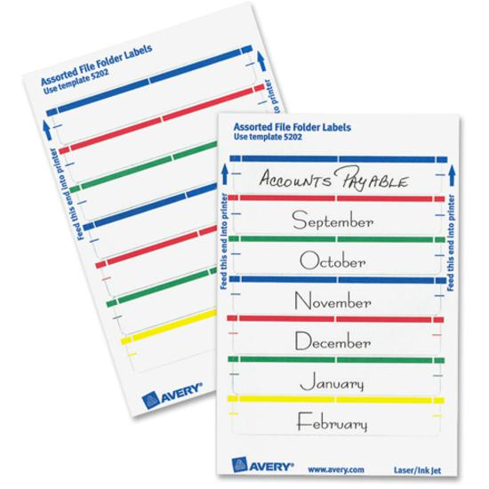 """Avery® reg; File Folder Labels - 4"""" Height x 6"""" Width - Permanent Adhesive - Rectangle - Laser, Inkjet - Dark Blue, Dark Red, Green, Yellow - Paper - 7 / Sheet - 36 Total Sheets - 252 Total Label(. Picture 4"""