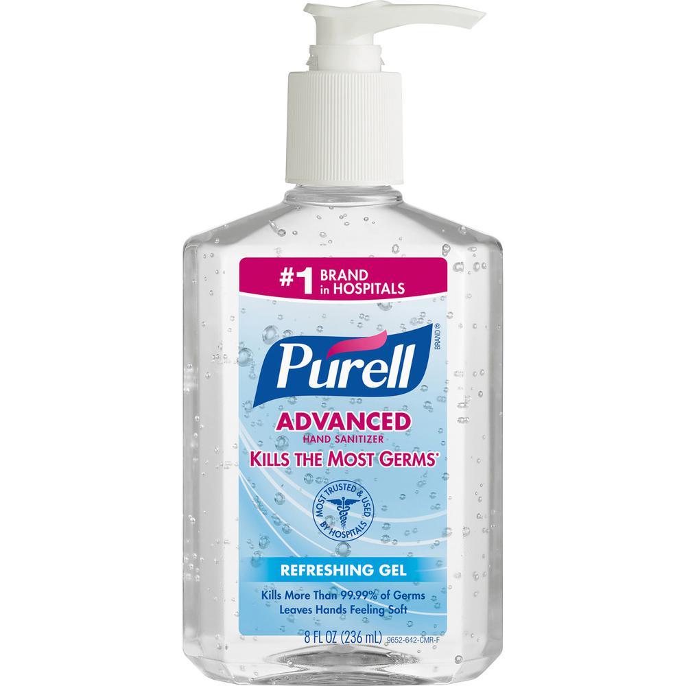 Gojo Purell Instant Hand Sanitizer Pump Dispenser Bottle - 8 fl oz (236.6 mL) - Push Pump Dispenser - Hand - Clear - Dye-free - 12 / Carton. Picture 4