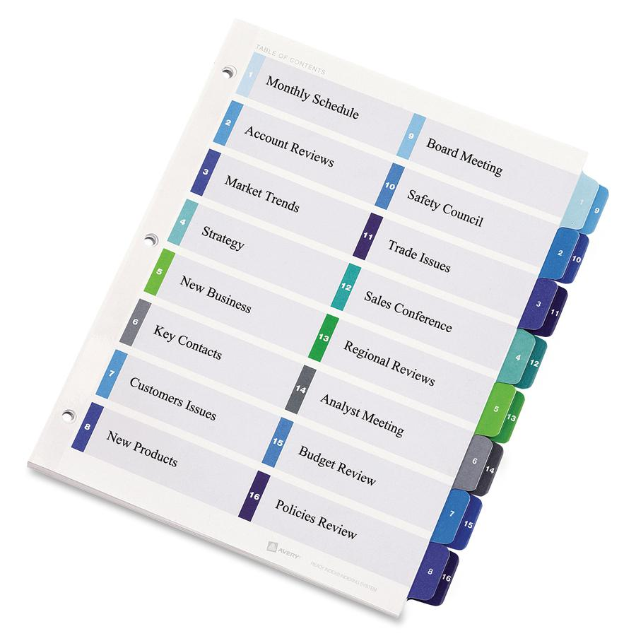 """Avery® Two-Column Table Contents Dividers w/Tabs - 16 x Divider(s) - 1-16, Table of Contents - 16 Tab(s)/Set - 8.5"""" Divider Width x 11"""" Divider Length - 3 Hole Punched - White Paper Divider - Mult. Picture 3"""