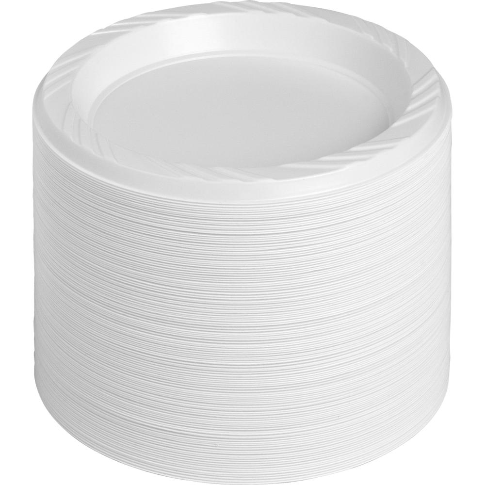 "Genuine Joe Reusable Plastic White Plates - 6"" Diameter Plate - Plastic - White - 125 Piece(s) / Pack. Picture 2"