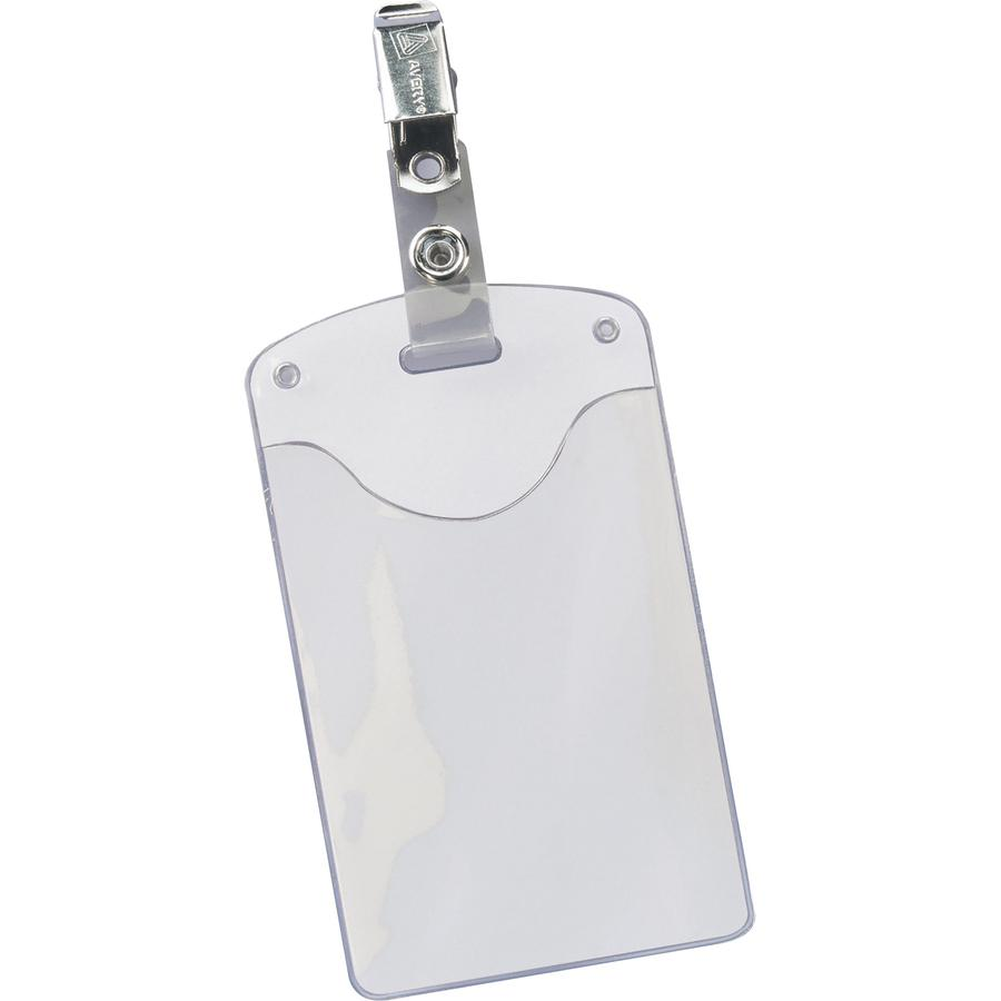"Avery® Heavy-Duty Secure Top Clip-Style Badge Holders - Support 2.25"" x 3.50"" Media - Portrait - 2.3"" x 3.3"" - Plastic - 50 / Box - Clear. Picture 3"