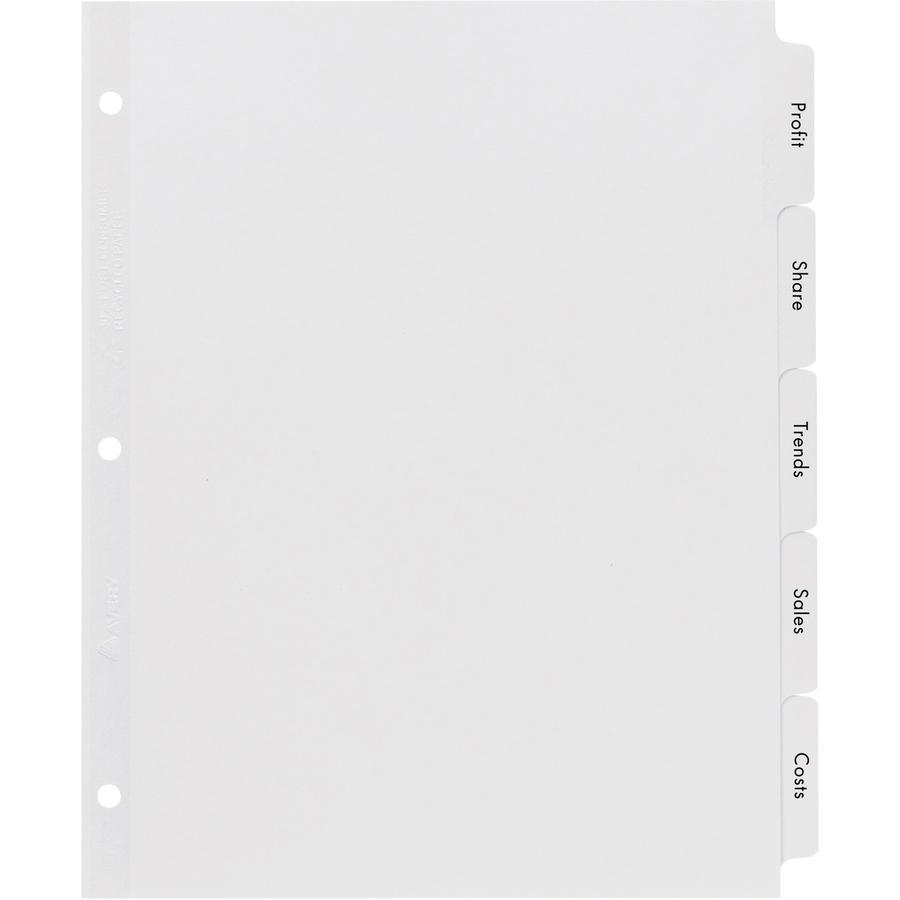 """Avery® Index Maker Index Divider - 5 x Divider(s) - 5 - 5 Tab(s)/Set - 8.5"""" Divider Width x 11"""" Divider Length - 3 Hole Punched - White Paper Divider - White Paper Tab(s) - 5 / Set. Picture 2"""