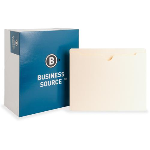 "Business Source 1"" Expansion Heavyweight File Pockets - Letter - 8 1/2"" x 11"" Sheet Size - 1"" Expansion - Straight Tab Cut - 11 pt. Folder Thickness - Manila - Recycled - 50 / Box. Picture 3"