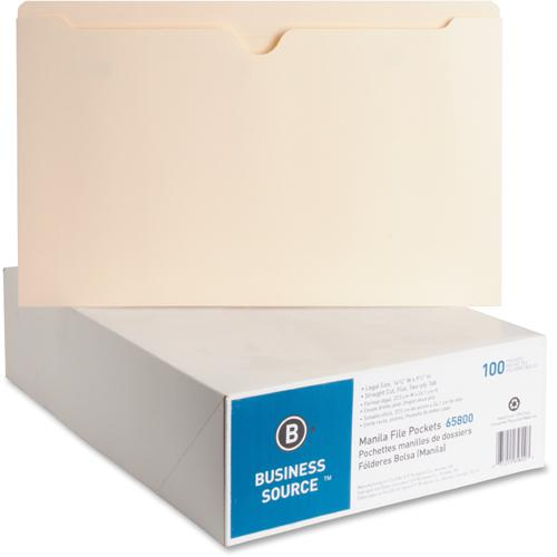 """Business Source Manila Flat File Pockets - Legal - 8 1/2"""" x 14"""" Sheet Size - 11 pt. Folder Thickness - Manila - Recycled - 100 / Box. Picture 2"""