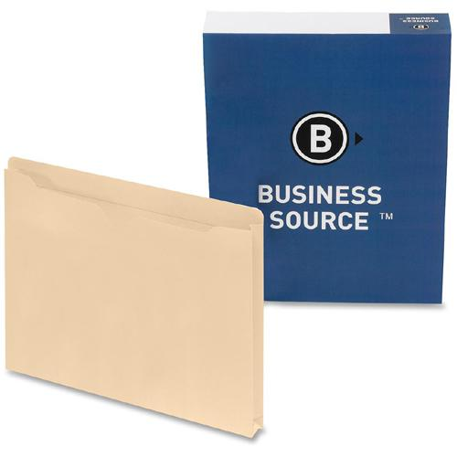 """Business Source 1"""" Expansion Heavyweight File Pockets - Legal - 8 1/2"""" x 14"""" Sheet Size - 1"""" Expansion - Straight Tab Cut - 11 pt. Folder Thickness - Manila - Recycled - 50 / Box. Picture 4"""