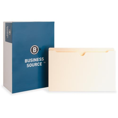 "Business Source 2"" Expanding 2-Ply File Pockets - Legal - 8 1/2"" x 14"" Sheet Size - 2"" Expansion - Straight Tab Cut - 11 pt. Folder Thickness - Manila - Recycled - 50 / Box"