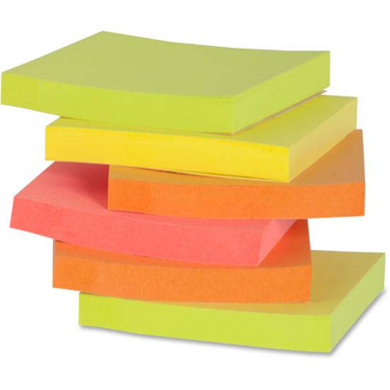 """Business Source Repositionable Neon Notes - 3"""" x 3"""" - Square - Neon - Removable, Repositionable, Solvent-free Adhesive - 12 / Pack. Picture 2"""