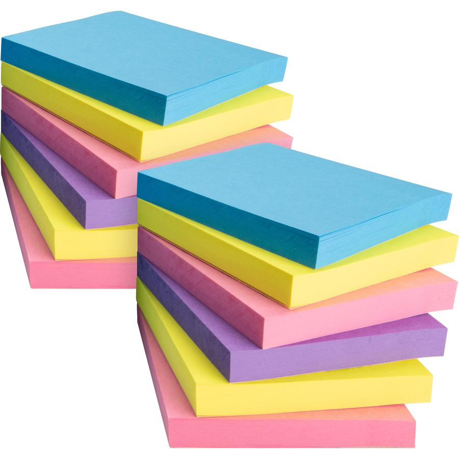 """Business Source 3x3 Extreme Colors Adhesive Notes - 100 - 3"""" x 3"""" - Square - Assorted - Repositionable, Solvent-free Adhesive - 12 / Pack. Picture 2"""