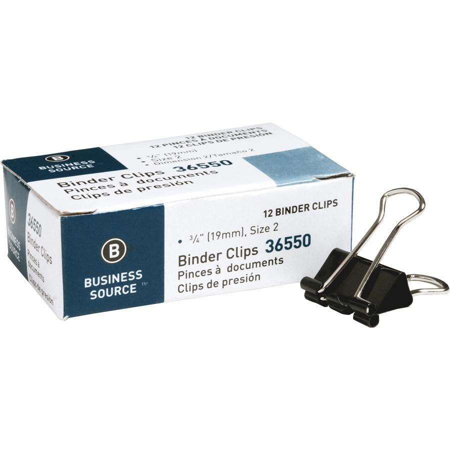 """Business Source Fold-back Binder Clips - Small - 0.8"""" Width - 0.38"""" Size Capacity - 12 / Dozen - Black - Steel. Picture 7"""
