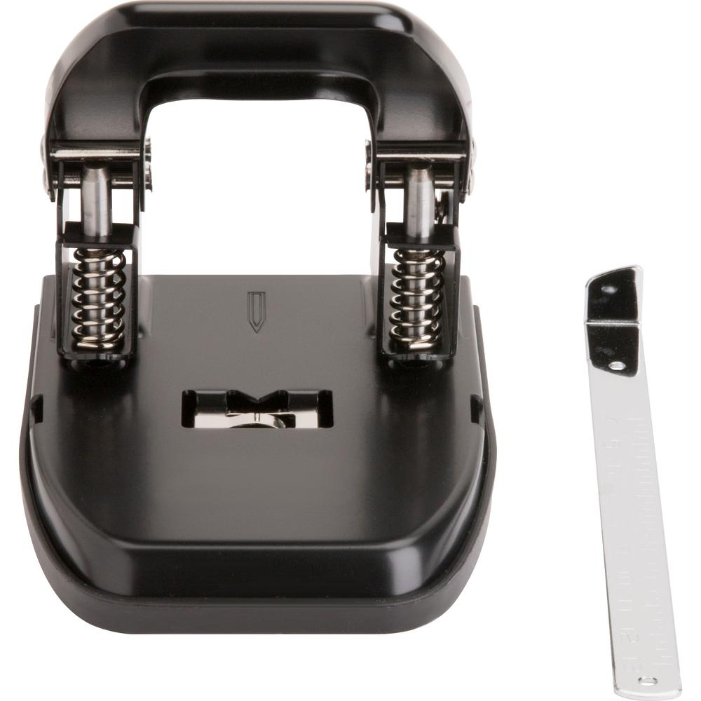 """Business Source Heavy-duty 2-Hole Punch - 2 Punch Head(s) - 30 Sheet Capacity - 9/32"""" Punch Size - Round Shape - Black. Picture 4"""